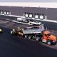 Asphalte JRL Paving roller grader truck parking aerial view