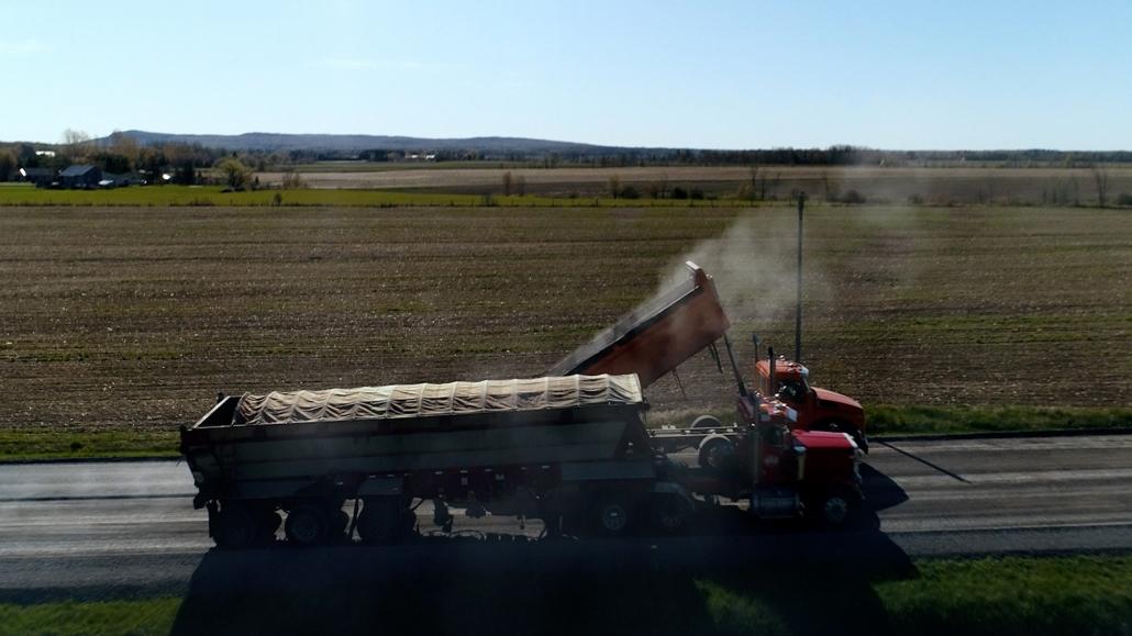 Asphalte JRL Paving truck road aerial view