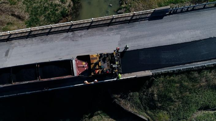 Asphalte JRL Paving grader road aerial view