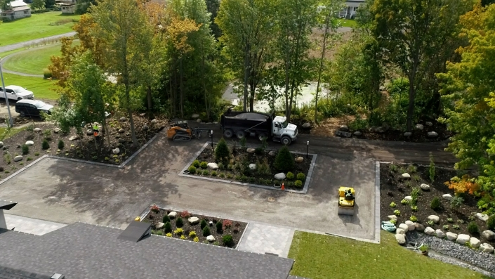 Asphalte JRL Paving residential driveway machinery aerial view