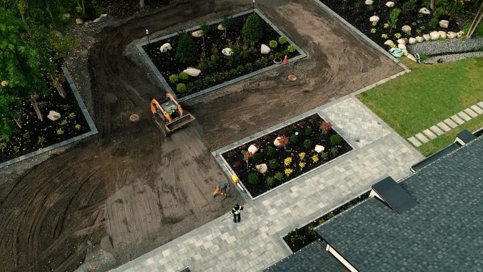 Asphalte JRL Paving residential driveway skid-steer aerial view